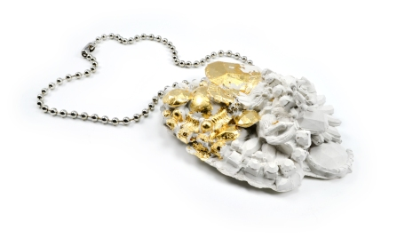 Concrete Costume Cluster Necklace - White