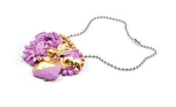 Concrete Costume Cluster Necklace - Pink