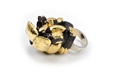Concrete Costume Cluster Cocktail Ring - Black
