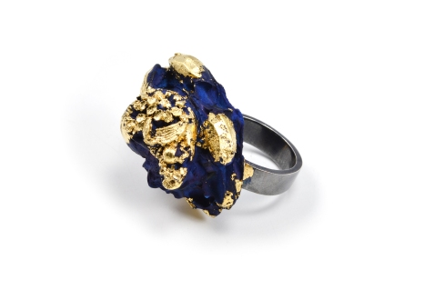 Concrete Costume Cluster Cocktail Ring - Navy