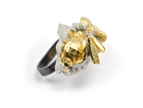 Concrete Costume Cluster Double Finger Cocktail Ring