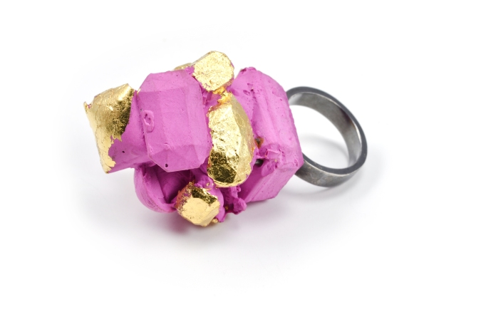 Concrete Costume Cluster Ring-Pink