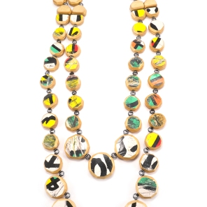 Round Cut Double Gem Strand Long Necklace