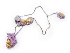 Concrete Costume Cluster Regal Purple Necklace