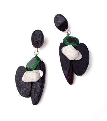 Emeraldized Jet Earrings