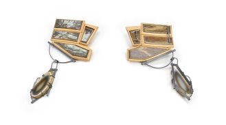 ViT:O4 Brooch   broken skateboards. colorado agate. sterling silver.