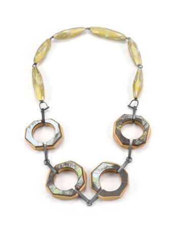 ViT:O5 Necklace   broken skateboards. oak hard wood. faux gold leaf. sterling silver. pigment.